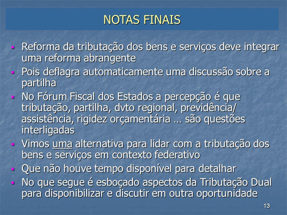 NOTAS FINAIS Reforma da tributação dos bens e serviços deve integrar uma reforma abrangente.