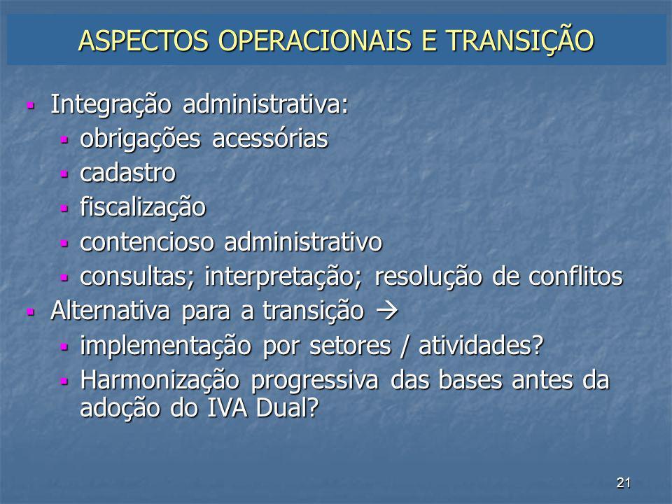 ASPECTOS OPERACIONAIS E TRANSIÇÃO