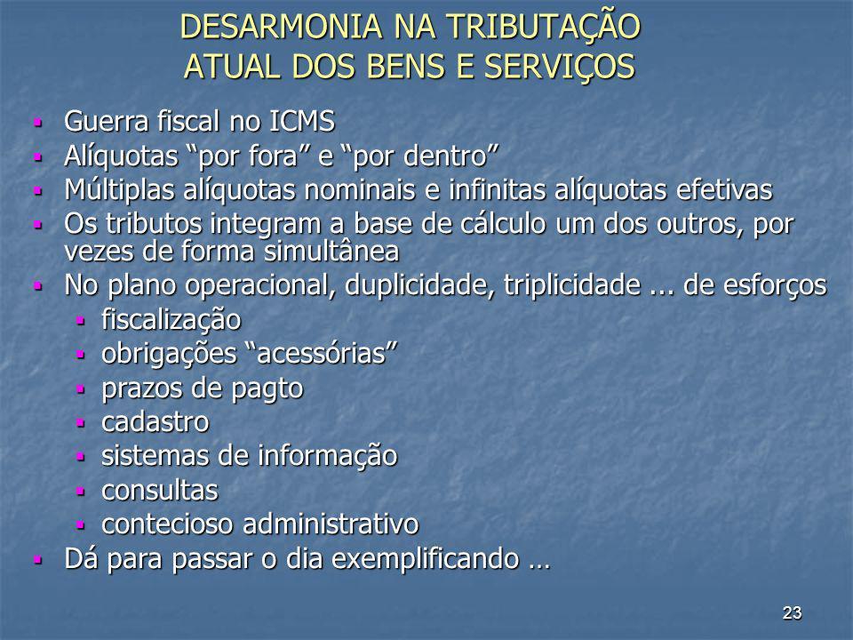 DESARMONIA NA TRIBUTAÇÃO ATUAL DOS BENS E SERVIÇOS