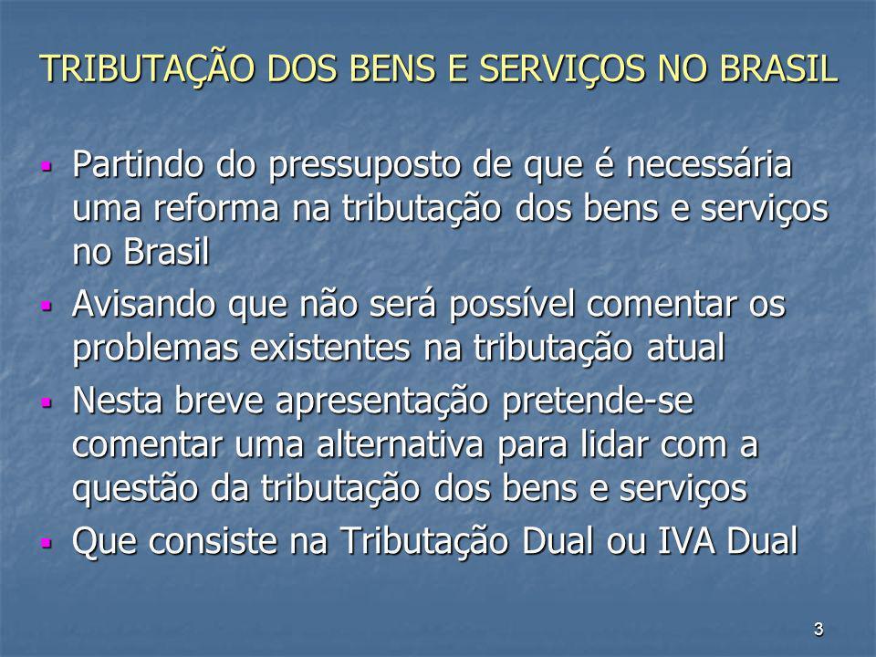 TRIBUTAÇÃO DOS BENS E SERVIÇOS NO BRASIL