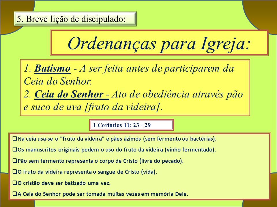 Ordenanças para Igreja: