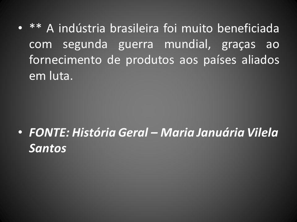 ** A indústria brasileira foi muito beneficiada com segunda guerra mundial, graças ao fornecimento de produtos aos países aliados em luta.