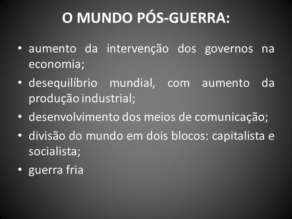 O MUNDO PÓS-GUERRA: aumento da intervenção dos governos na economia;
