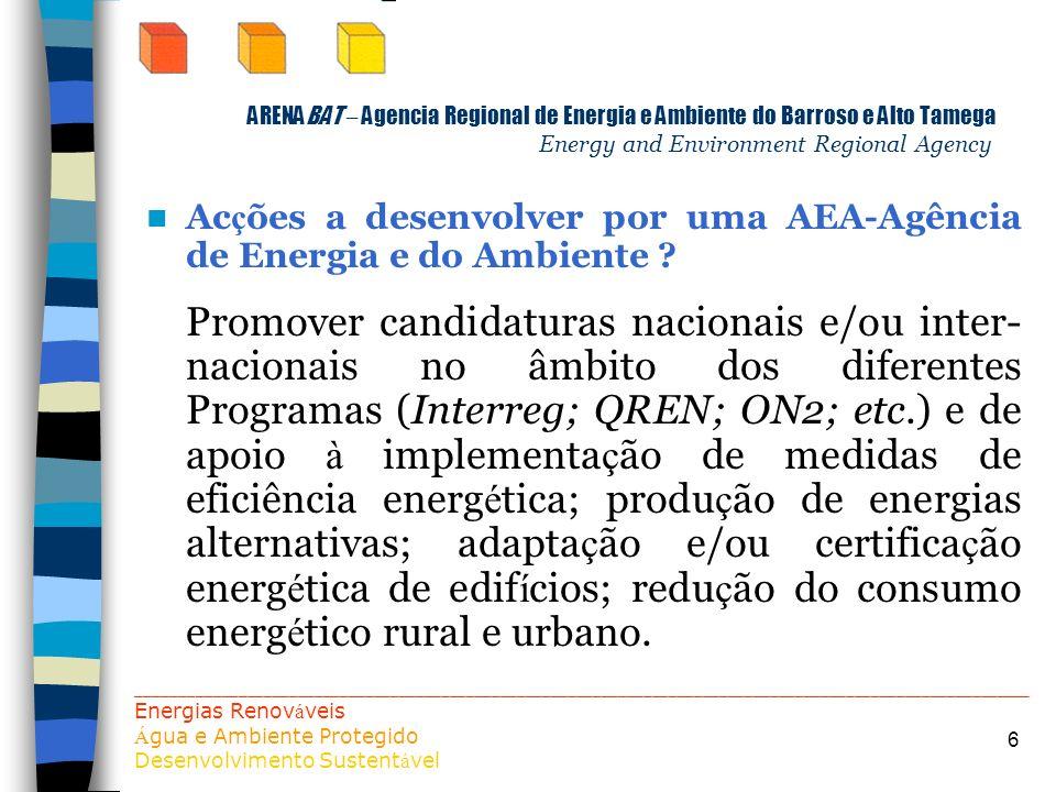 Acções a desenvolver por uma AEA-Agência de Energia e do Ambiente