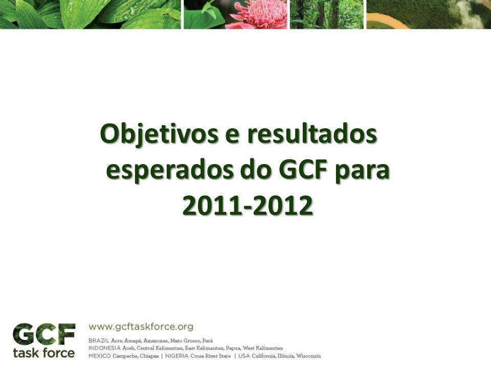 Objetivos e resultados esperados do GCF para 2011-2012