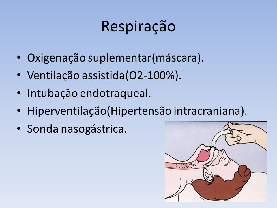 Respiração Oxigenação suplementar(máscara).