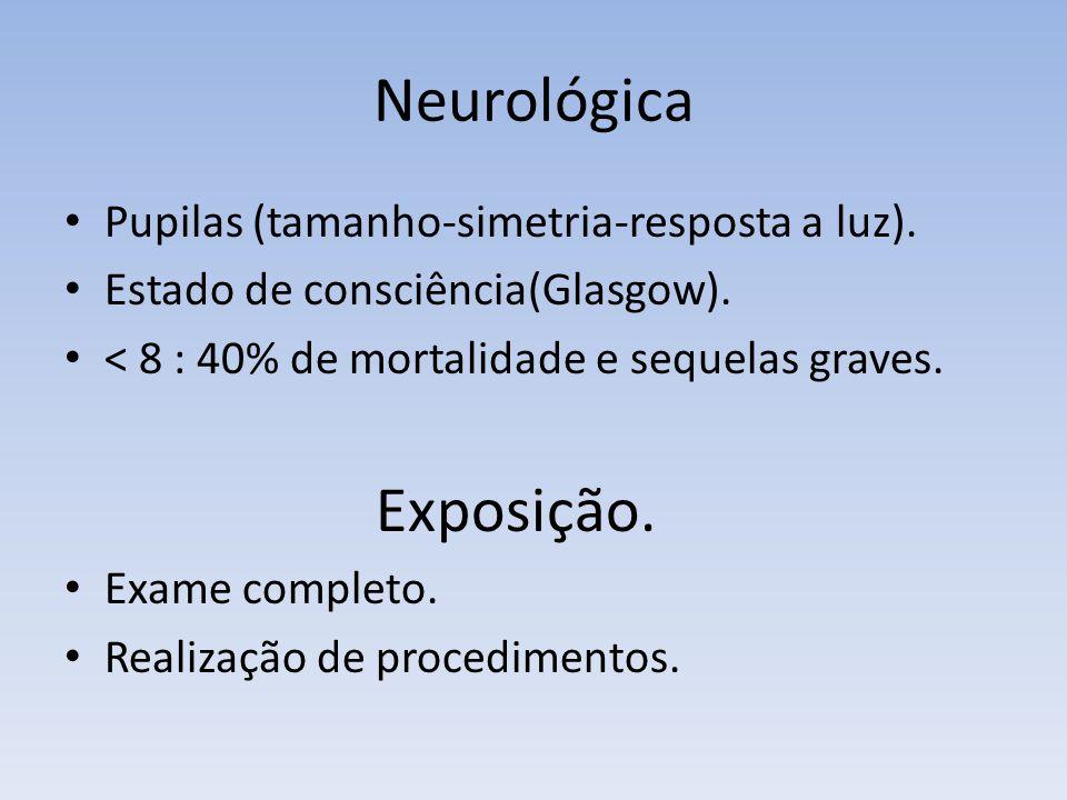 Neurológica Exposição. Pupilas (tamanho-simetria-resposta a luz).