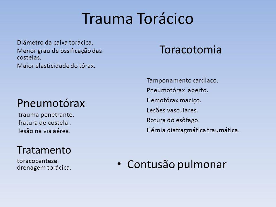 Trauma Torácico Pneumotórax: Contusão pulmonar Tratamento