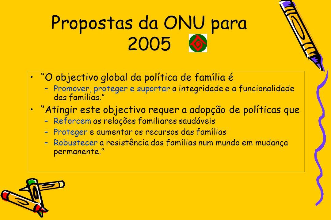 Propostas da ONU para 2005 O objectivo global da política de família é.