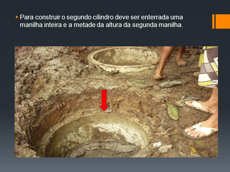 Para construir o segundo cilindro deve ser enterrada uma manilha inteira e a metade da altura da segunda manilha.