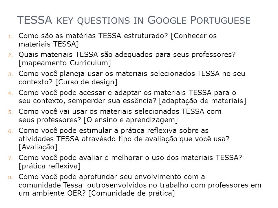 TESSA key questions in Google Portuguese