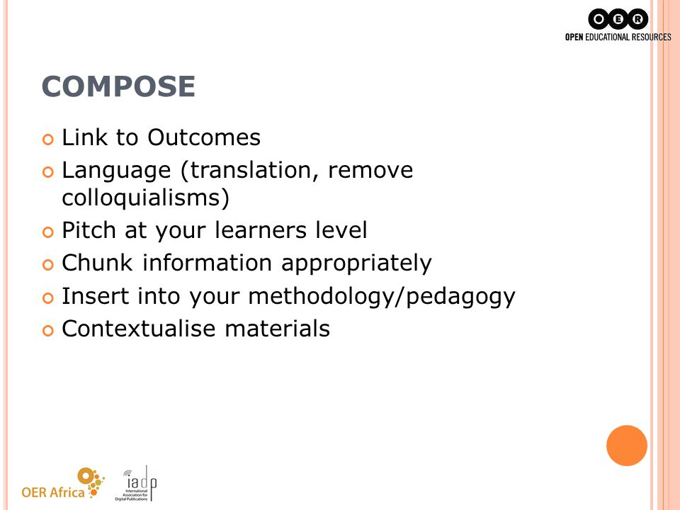 COMPOSE Link to Outcomes Language (translation, remove colloquialisms)