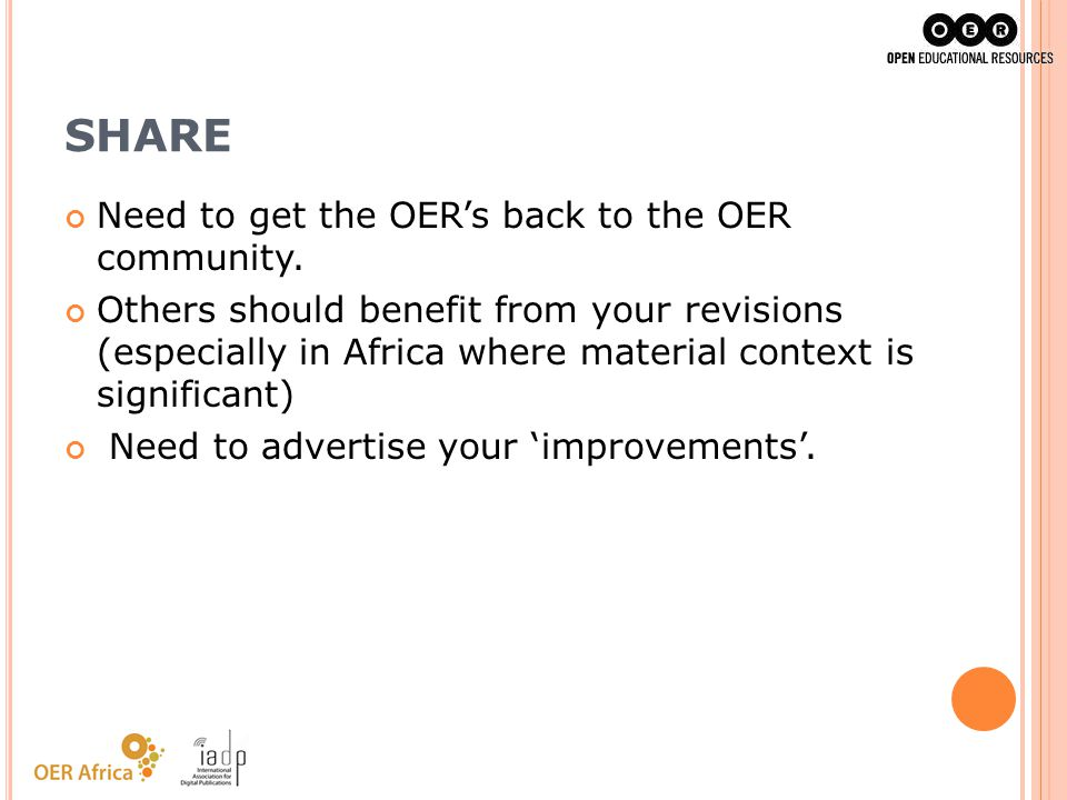 SHARE Need to get the OER's back to the OER community.