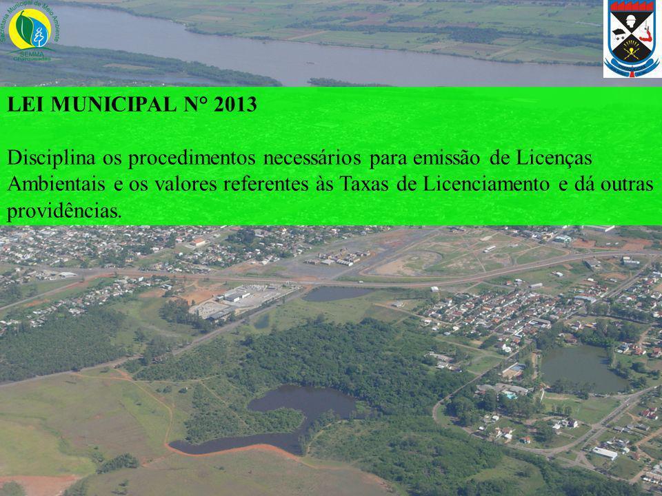 LEI MUNICIPAL N° 2013