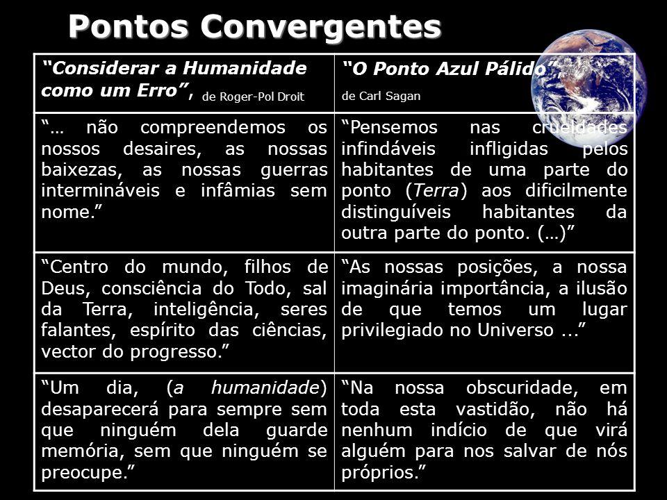 Pontos Convergentes Considerar a Humanidade como um Erro , de Roger-Pol Droit. O Ponto Azul Pálido ,