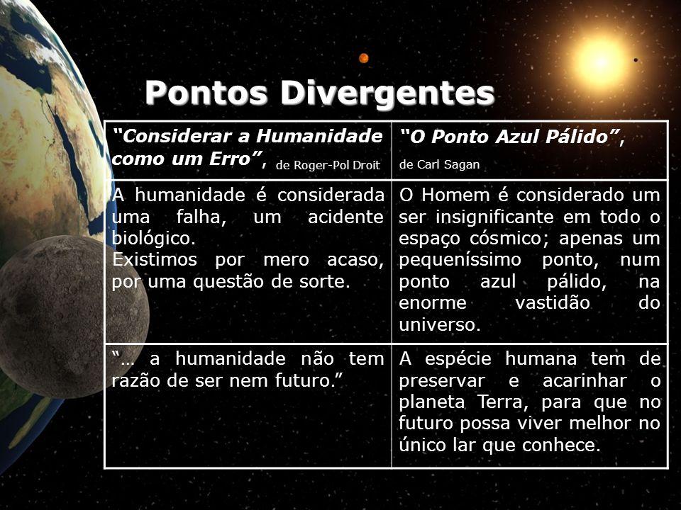 Pontos Divergentes Considerar a Humanidade como um Erro , de Roger-Pol Droit. O Ponto Azul Pálido ,
