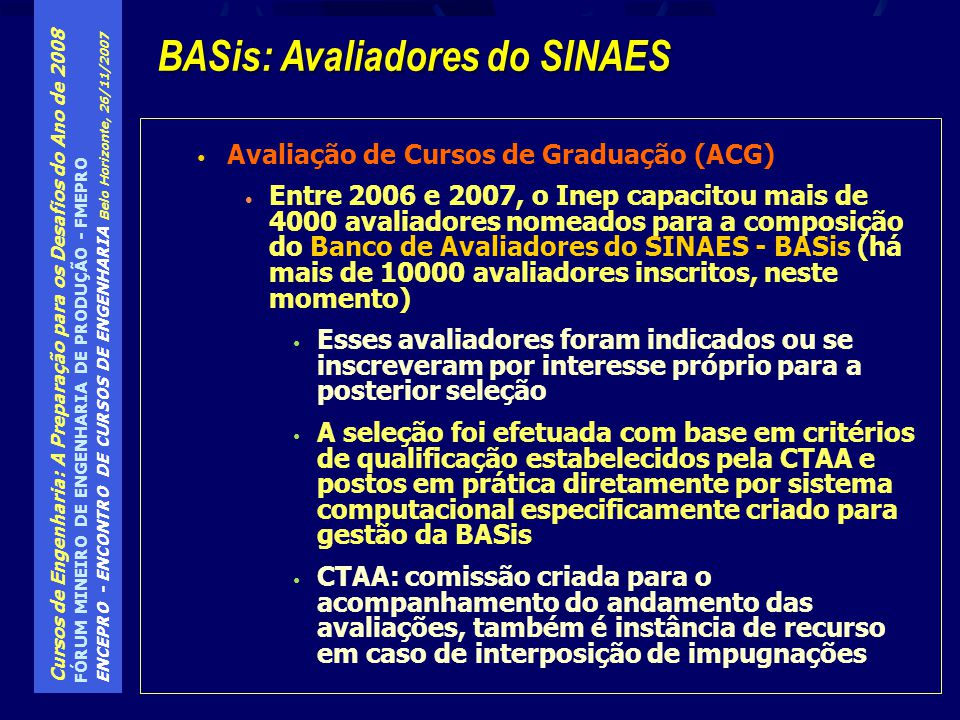 BASis: Avaliadores do SINAES