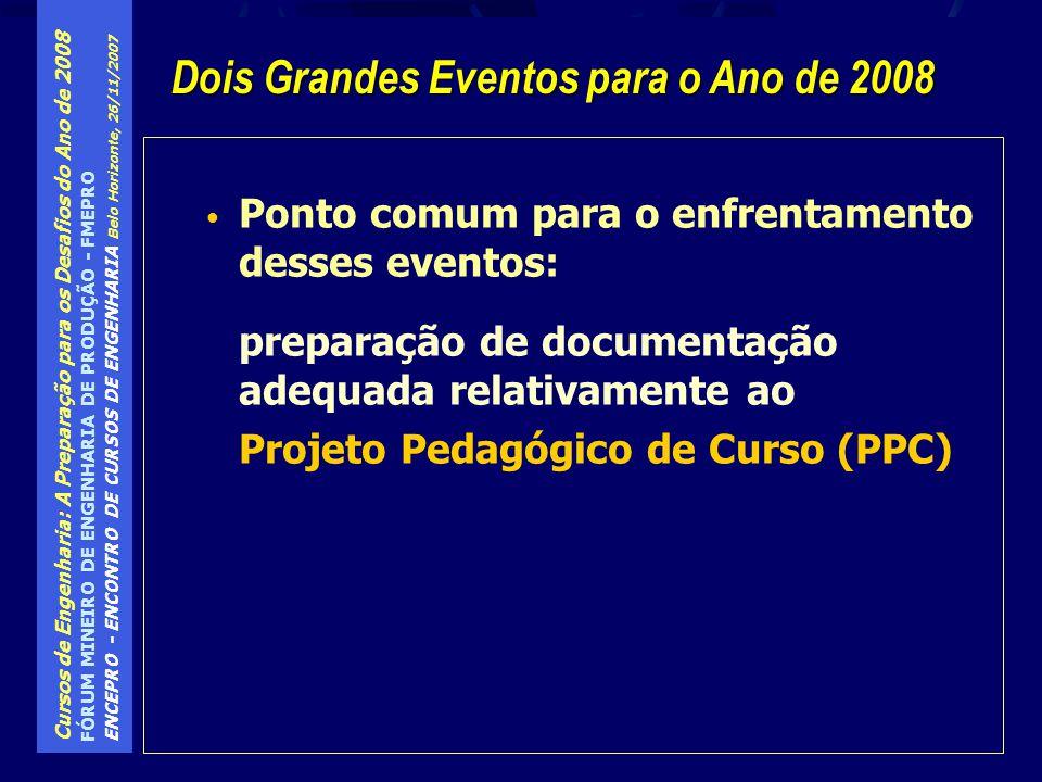 Dois Grandes Eventos para o Ano de 2008