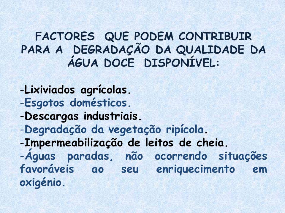 FACTORES QUE PODEM CONTRIBUIR PARA A DEGRADAÇÃO DA QUALIDADE DA ÁGUA DOCE DISPONÍVEL: