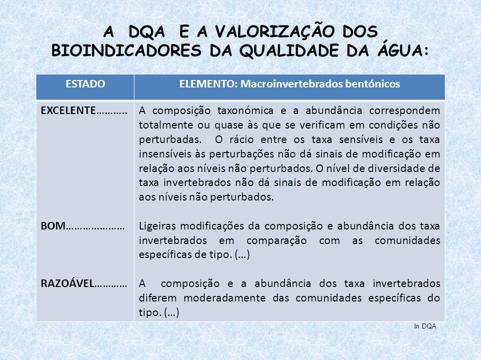 A DQA E A VALORIZAÇÃO DOS BIOINDICADORES DA QUALIDADE DA ÁGUA: