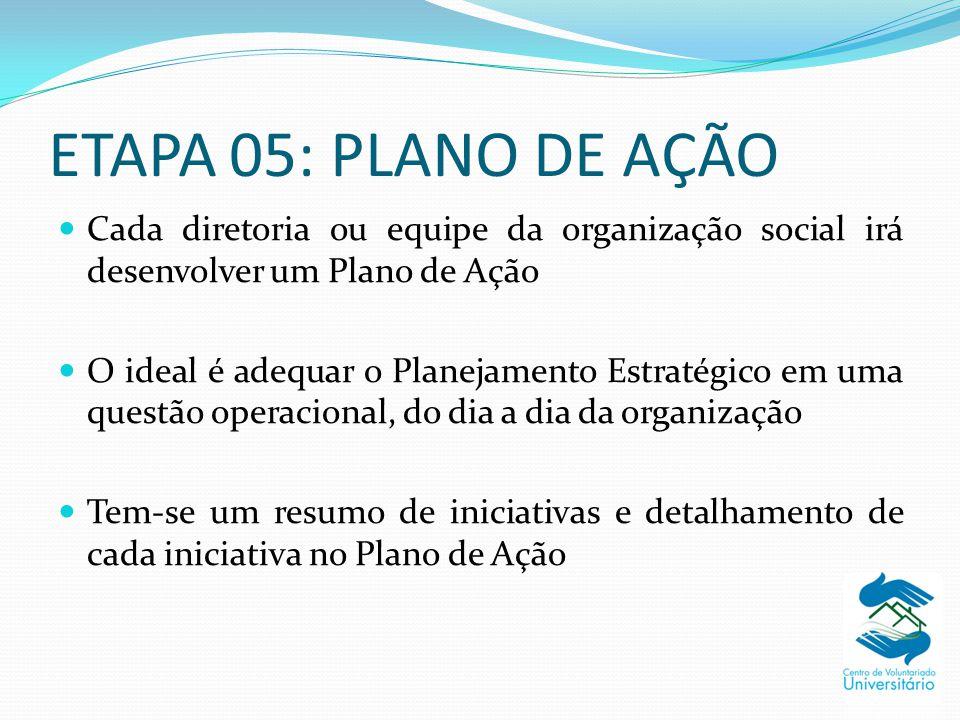 ETAPA 05: PLANO DE AÇÃO Cada diretoria ou equipe da organização social irá desenvolver um Plano de Ação.