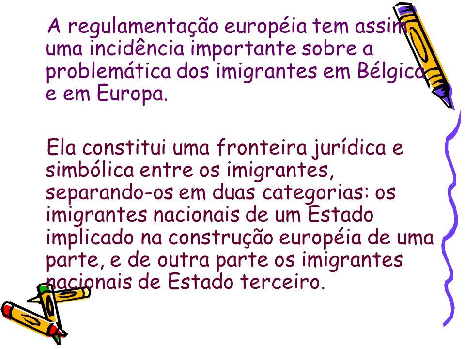 A regulamentação européia tem assim uma incidência importante sobre a problemática dos imigrantes em Bélgica e em Europa.