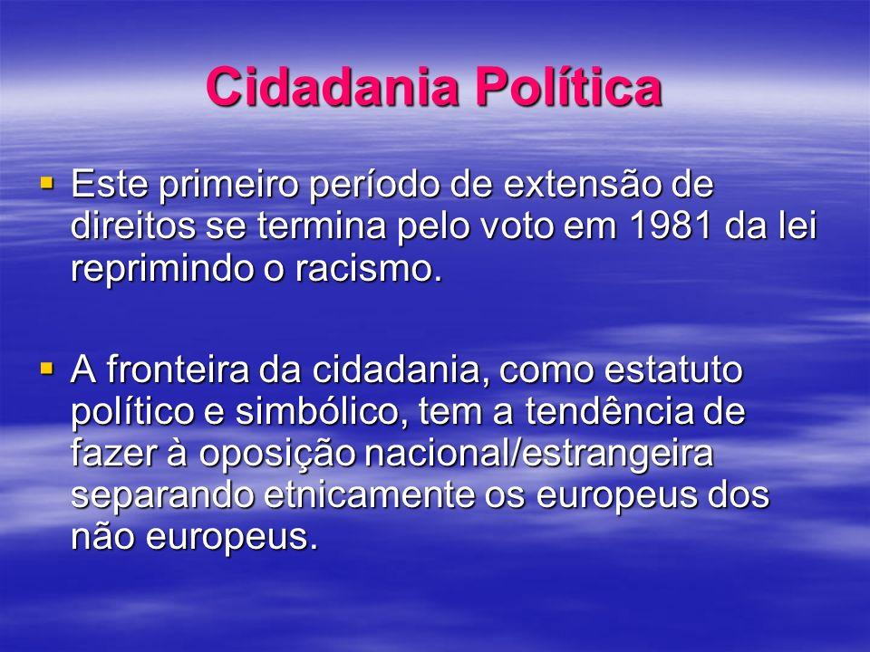 Cidadania Política Este primeiro período de extensão de direitos se termina pelo voto em 1981 da lei reprimindo o racismo.