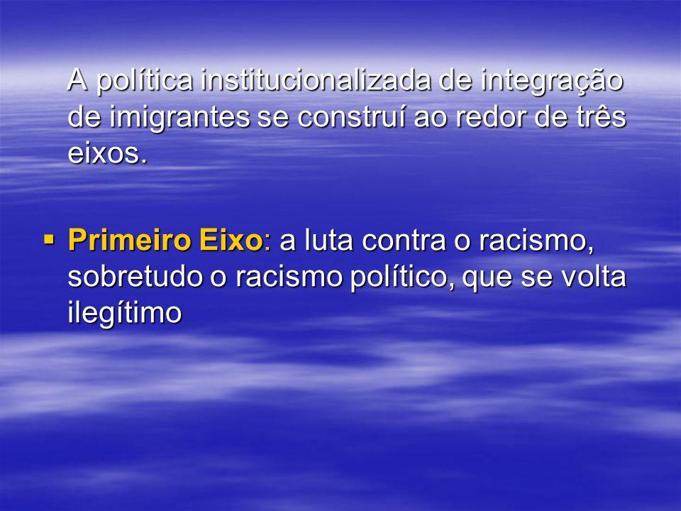 A política institucionalizada de integração de imigrantes se construí ao redor de três eixos.