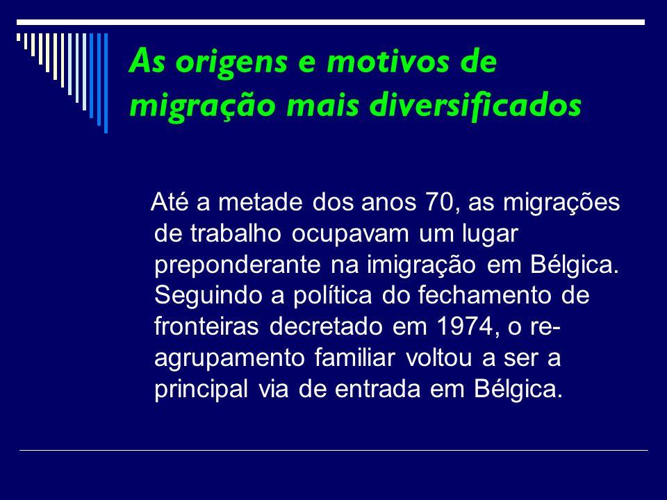 As origens e motivos de migração mais diversificados