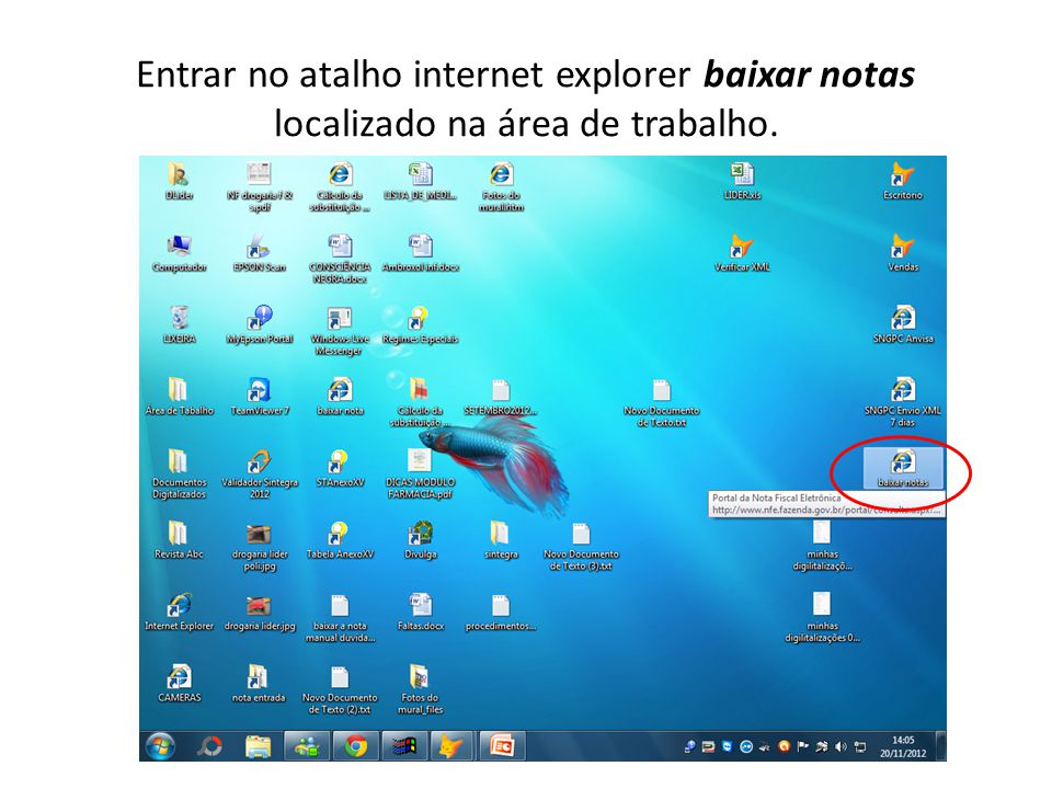 Entrar no atalho internet explorer baixar notas localizado na área de trabalho.
