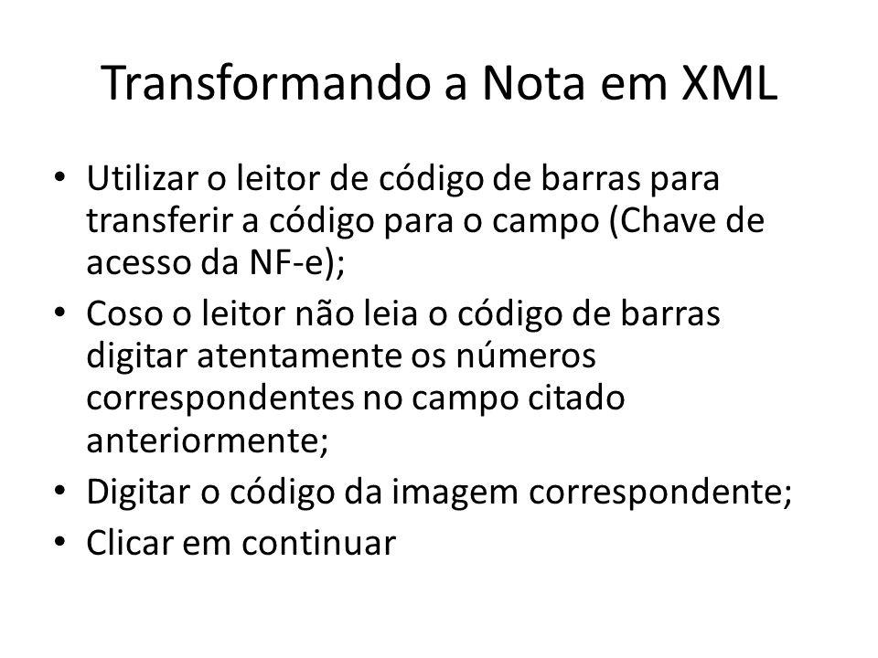 Transformando a Nota em XML