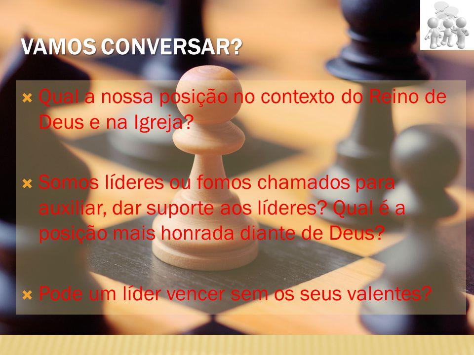 Vamos conversar Qual a nossa posição no contexto do Reino de Deus e na Igreja