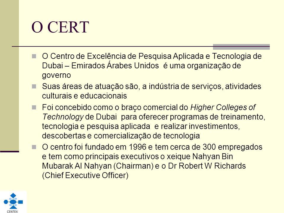 O CERT O Centro de Excelência de Pesquisa Aplicada e Tecnologia de Dubai – Emirados Árabes Unidos é uma organização de governo.
