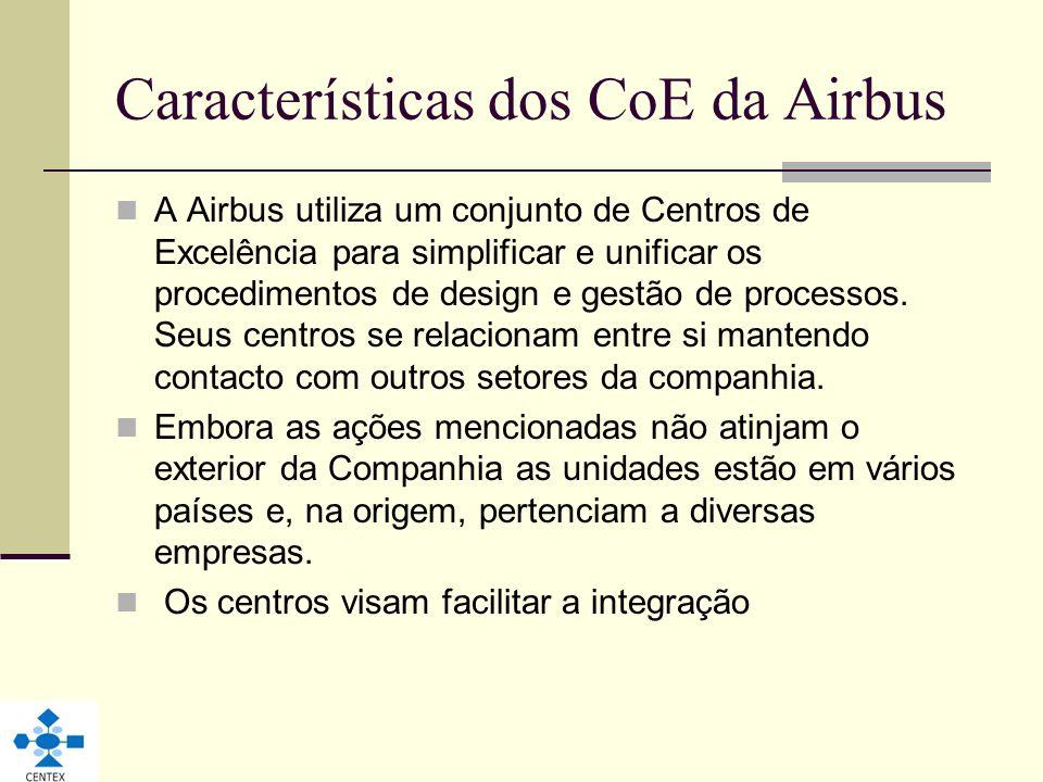 Características dos CoE da Airbus