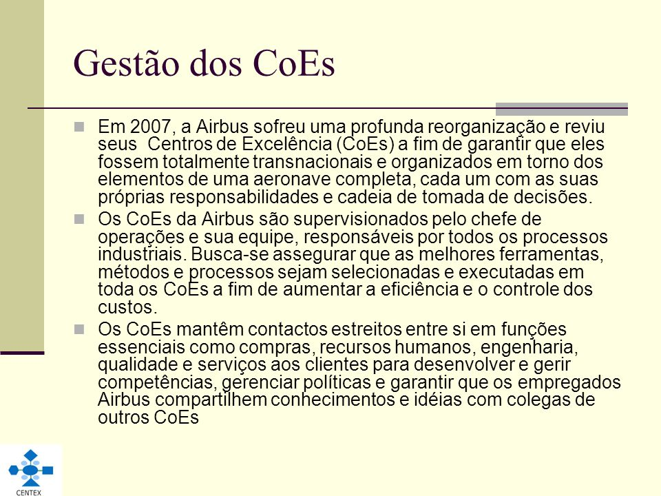 Gestão dos CoEs