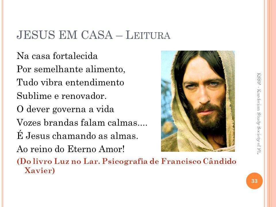 JESUS EM CASA – Leitura Na casa fortalecida Por semelhante alimento,