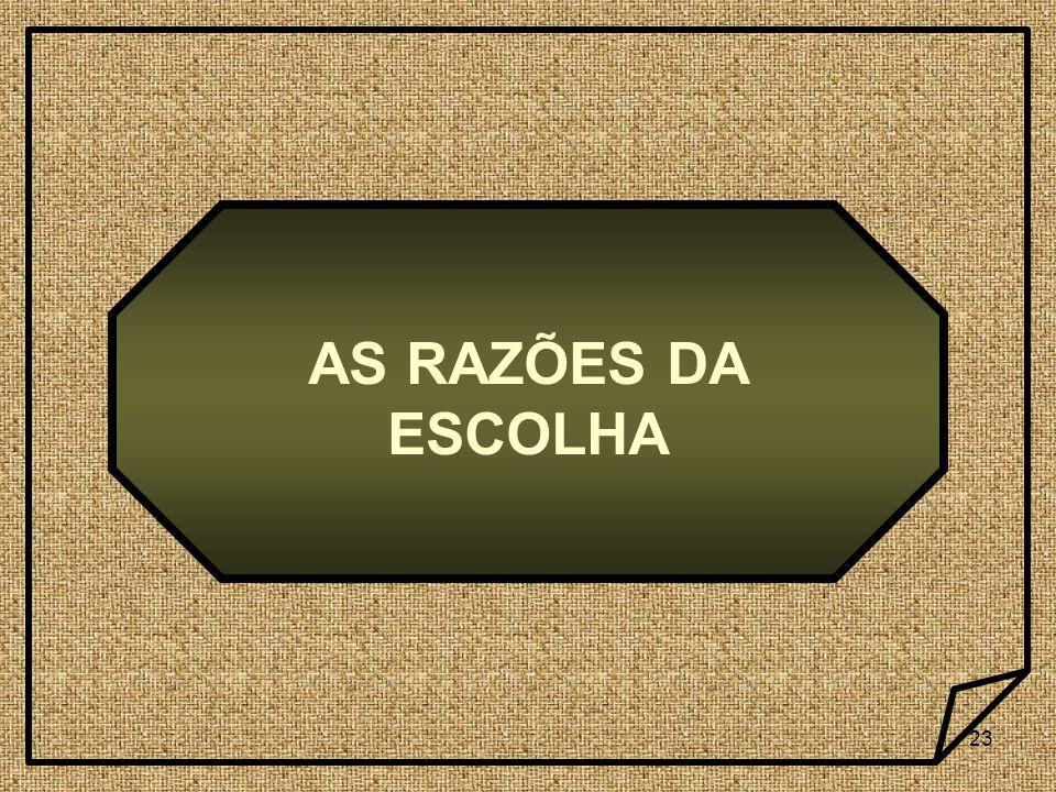 AS RAZÕES DA ESCOLHA