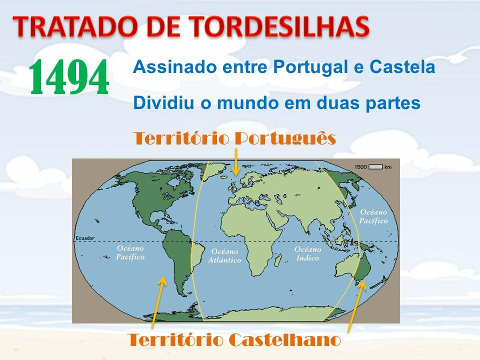 1494 TRATADO DE TORDESILHAS Assinado entre Portugal e Castela