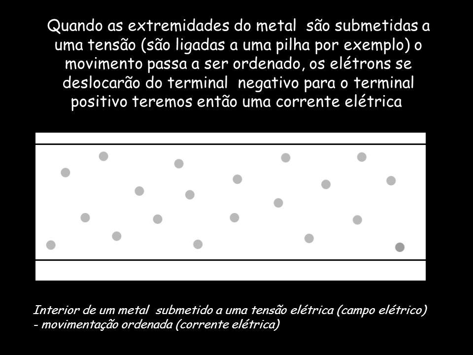 Quando as extremidades do metal são submetidas a uma tensão (são ligadas a uma pilha por exemplo) o movimento passa a ser ordenado, os elétrons se deslocarão do terminal negativo para o terminal positivo teremos então uma corrente elétrica