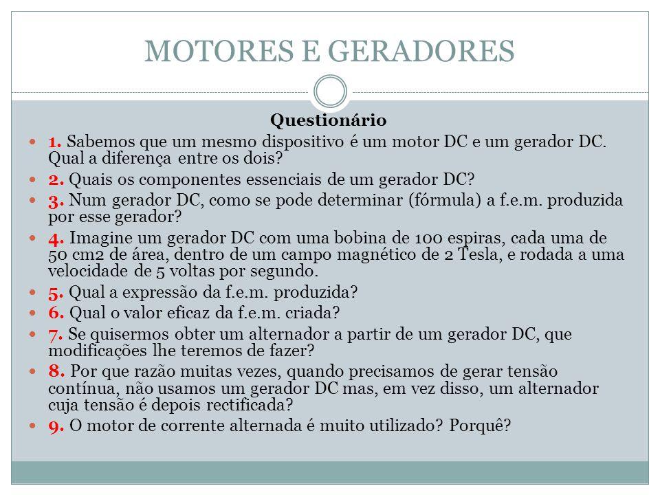 MOTORES E GERADORES Questionário