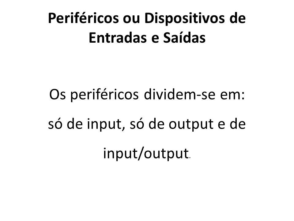 Periféricos ou Dispositivos de Entradas e Saídas