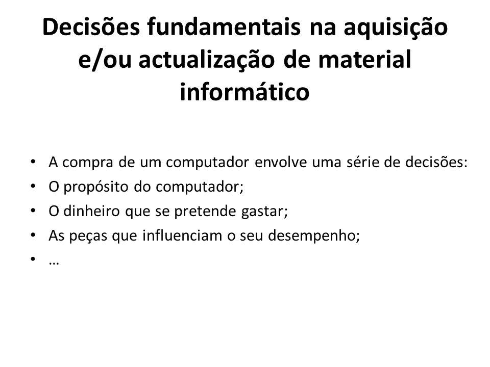 Decisões fundamentais na aquisição e/ou actualização de material informático