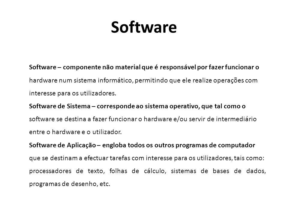Software Software – componente não material que é responsável por fazer funcionar o.