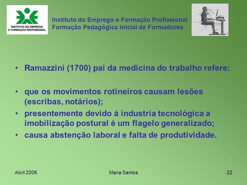 Ramazzini (1700) pai da medicina do trabalho refere: