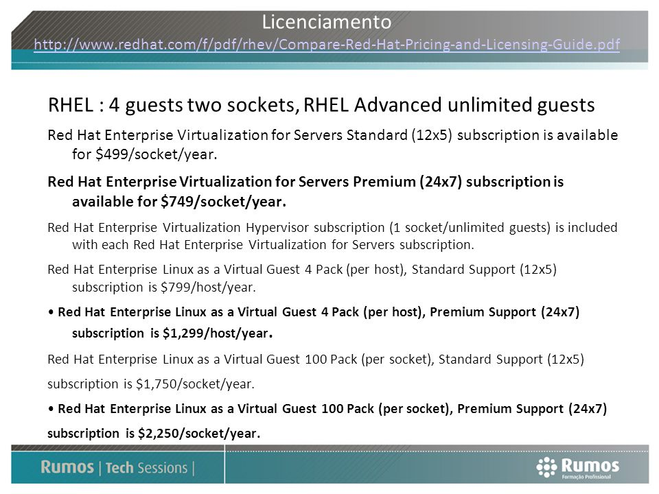 RHEL : 4 guests two sockets, RHEL Advanced unlimited guests