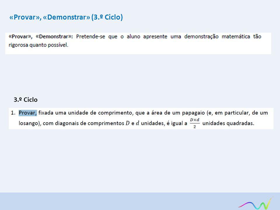 «Provar», «Demonstrar» (3.º Ciclo)