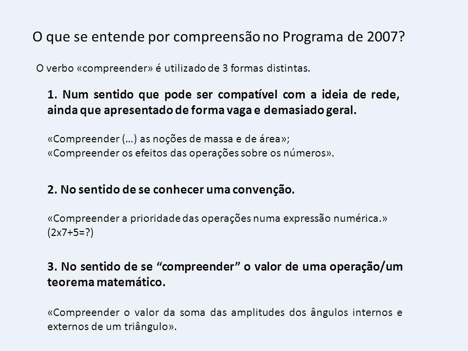 O que se entende por compreensão no Programa de 2007