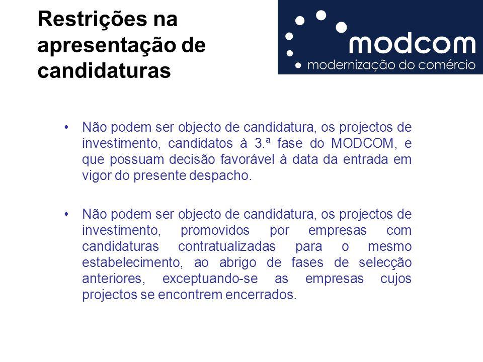 Restrições na apresentação de candidaturas