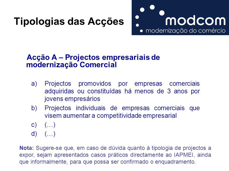 Tipologias das Acções Acção A – Projectos empresariais de modernização Comercial.