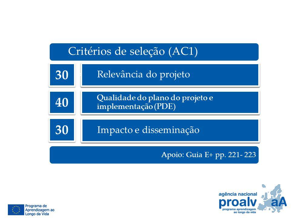 30 40 30 Critérios de seleção (AC1) Relevância do projeto